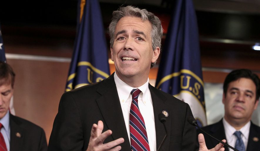In this Nov. 15, 2011, photo former U.S. Rep. Joe Walsh, R-Ill., gestures during a news conference on Capitol Hill in Washington. Walsh, a former Illinois congressman, says he'll challenge President Donald Trump for the Republican nomination in 2020. The tea party favorite argues that Trump is unfit for the White House. (AP Photo/Carolyn Kaster) ** FILE **