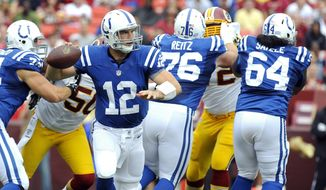 FILE - In this Aug. 25, 2012, file photo, Indianapolis Colts quarterback Andrew Luck (12) rolls out of the pocket during the team's NFL preseason football game against the Washington Redskins in Landover, Md. Luck watched one last game from the sideline Saturday, Aug. 24, 2019, in Indianapolis. Then he said goodbye to the NFL. The quarterback heard boos as he walked away from the field, then walked to the podium and made the surprise decision official. The oft-injured star is retiring at age 29. (AP Photo/Richard Lipski, File)