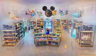 This image provided by Target Brand Inc and Disney shows an artist rendering of a store. Target is hoping to bring the magic of Disney by creating permanent Disney shops at a cluster of  its own stores starting this fall. As part of its collaboration with the Walt Disney Co., the Minneapolis-based discounter says it will open 25 Disney-branded stores starting Oct. 4, with 40 additional locations opening by October 2020. (Target Brand Inc. and Disney via AP)