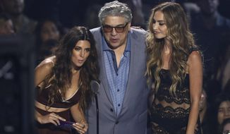Jamie-Lynn Sigler, from left, Drea de Matteo and Vincent Pastore present the best pop award at the MTV Video Music Awards at the Prudential Center on Monday, Aug. 26, 2019, in Newark, N.J. (Photo by Matt Sayles/Invision/AP)