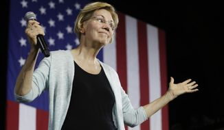 In this Aug. 21, 2019, file photo, Democratic presidential candidate Elizabeth Warren, D-Mass., speaks during a town hall campaign event in Los Angeles. Democratic primary voters, energized and enraged by Trump's turbulent presidency, are increasingly calling for the candidates to fight fire with fire. (AP Photo/Chris Carlson)