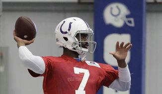 Indianapolis Colts quarterback Jacoby Brissett throws during a practice at the team's NFL football training facility, Monday, Aug. 26, 2019, in Indianapolis. (AP Photo/Darron Cummings)
