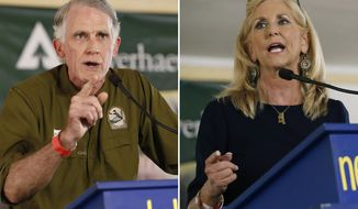 This combo of Aug. 1, 2019 photos shows attorney Andy Taggart, left and State Treasurer Lynn Fitch speaking at the Neshoba County Fair in Philadelphia, Miss. Fitch and Taggart, are competing in a Tuesday, Aug. 27, runoff for the Republican nomination for Mississippi attorney general. (AP Photo/Rogelio V. Solis)