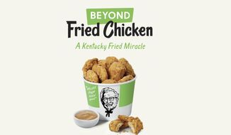 This undated product image provided by KFC shows plant-based chicken. Kentucky Fried Chicken plans to test plant-based chicken nuggets and boneless wings on Tuesday, Aug. 27, 2019, at one of its restaurants in Atlanta. (KFC via AP) ** FILE **