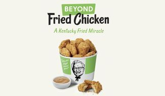 This undated product image provided by KFC shows plant-based chicken. Kentucky Fried Chicken plans to test plant-based chicken nuggets and boneless wings on Tuesday, Aug. 27, 2019, at one of its restaurants in Atlanta. (KFC via AP)