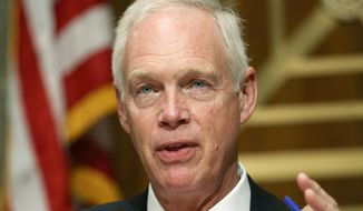 In this July 30, 2019, file photo, Sen. Homeland Security and Governmental Affairs committee Chair Sen. Ron Johnson, R-Wis., speaks during a committee hearing on conditions at the Southern border, on Capitol Hill in Washington. (AP Photo/Jacquelyn Martin, File)