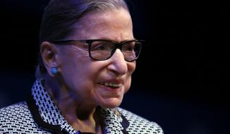 Supreme Court Associate Justice Ruth Bader Ginsburg speaks about her work and gender equality following a ceremony where she received a SUNY Honorary Degree from the University at Buffalo, Monday, Aug. 26, 2019, in Buffalo N.Y. (AP Photo/Jeffrey T. Barnes) ** FILE **
