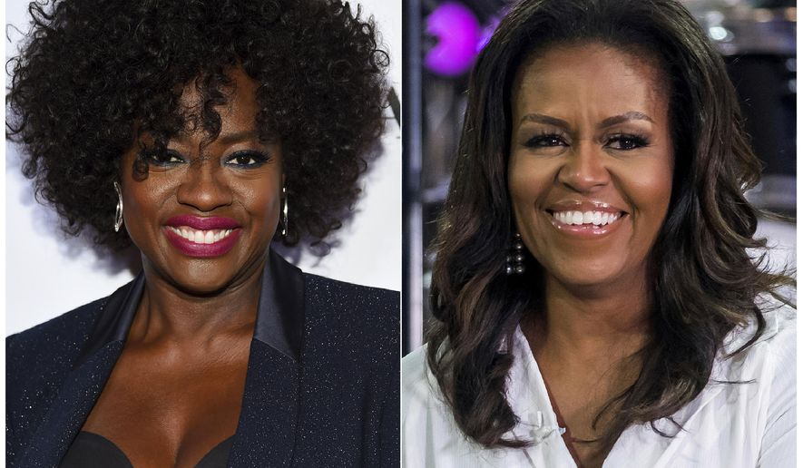 "This combination photo shows actress Viola Davis at the Glamour Women of the Year Awards in New York on Nov. 12, 2018, left, and former first lady Michelle Obama on NBC's ""Today"" show in New York on Oct. 11, 2018. Davis is set to portray Obama in a Showtime series about America's first ladies. Davis also is an executive producer on the project, which is still in development. (Photos by Evan Agostini, left, and Charles Sykes/Invision/AP)"