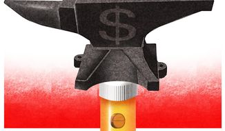 Illustration on Medicare Pard D price controls by Alexander Hunter/The Washington Times