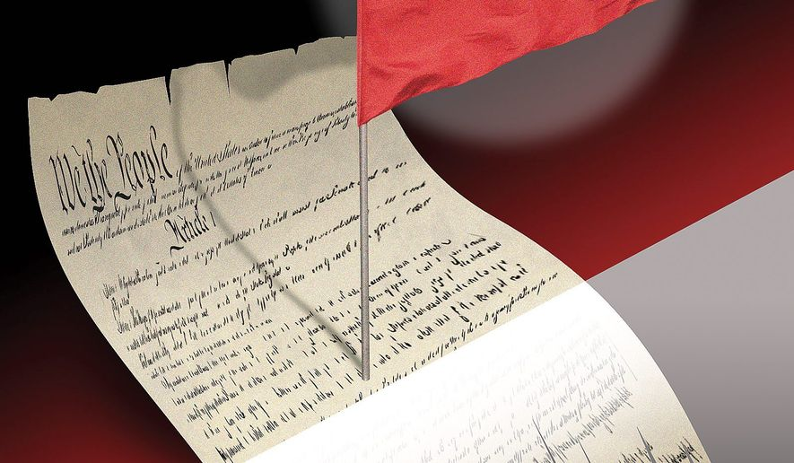 Constitution and red flag laws illustration by Linas Garsys