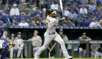 Oakland Athletics' Marcus Semien hits a three-run triple during the second inning of a baseball game against the Kansas City Royals, Monday, Aug. 26, 2019, in Kansas City, Mo. (AP Photo/Charlie Riedel)