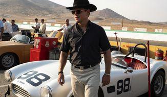 "This image released by 20th Century fox shows Matt Damon in a scene from ""Ford v. Ferrari,"" in theaters on Nov. 15. (Merrick Morton/20th Century Fox via AP)"