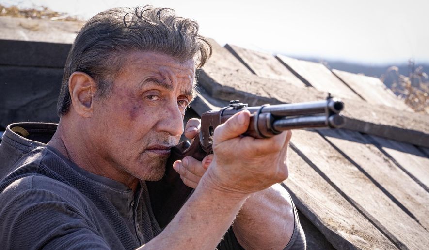 "This image released by Lionsgate shows Sylvester Stallone as John Rambo in a scene from ""Rambo: Last Blood,"" in theaters on Sept. 20. (Yana Blajeva/Lionsgate via AP)"