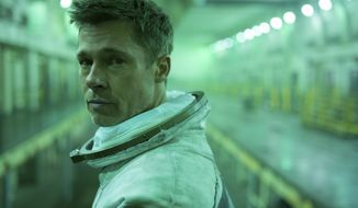 "This image released by 20th Century Fox shows Brad Pitt in a scene from ""Ad Astra,"" in theaters on Sept. 20. (Francois Duhamel/20th Century Fox via AP)"