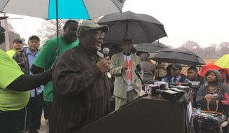 In this Feb. 1, 2018 photo Baxter Leach speaks during a ceremony honoring two colleagues who were killed on the job in 1968 in Memphis, Tenn. King was fatally shot on a hotel balcony in Memphis on April 4, 1968. Close friends say a prominent member of the Memphis, Tennessee, sanitation workers union whose historic strike was supported by the Rev. Martin Luther King Jr. has died. Baxter Leach was 79. Gail Tyree is executive director of Memphis Local 1733 chapter of the American Federation of State, County and Municipal Employees union. Tyree said she spoke with Leach's daughter, who said he died Tuesday, Aug. 27 2019. (AP Photo/Adrian Sainz)