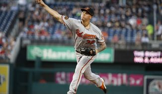 Baltimore Orioles starting pitcher Aaron Brooks throws during the first inning of a baseball game against the Washington Nationals at Nationals Park Tuesday, Aug. 27, 2019, in Washington. (AP Photo/Alex Brandon)