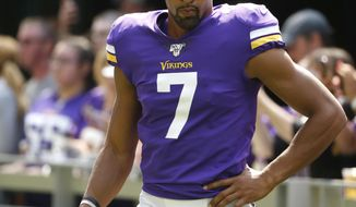"FILE - In this Aug. 24, 2019, file photo, Minnesota Vikings' Kaare Vedvik stands on the sideline during the first half of an NFL preseason football game against the Arizona Cardinals in Minneapolis. Coach Mike Zimmer said he was ""at a loss"" about his specialists, after Vedvik missed two field goals in the last exhibition game.  (AP Photo/Bruce Kluckhohn, File)"