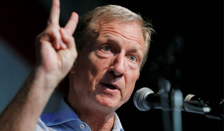 In this Aug. 9, 2019, file photo, Democratic presidential candidate and businessman Tom Steyer speaks at the Iowa Democratic Wing Ding at the Surf Ballroom in Clear Lake, Iowa. A handful of struggling Democratic presidential hopefuls are bracing for bad news as the window to qualify for the party's next debate closes quickly. (AP Photo/John Locher)