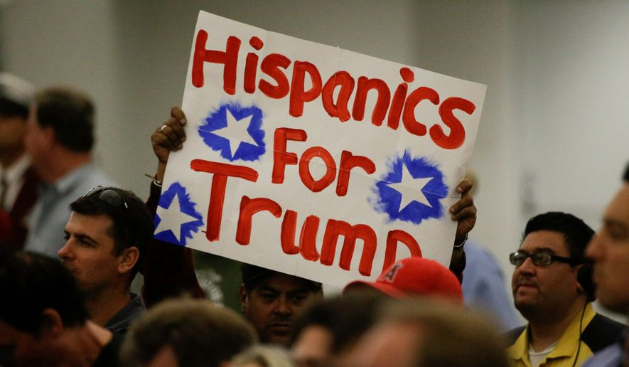 A Hispanic supporter holds up a sign for then-presidential candidate Donald Trump in 2016. Support among Hispanics for Mr. Trump has dropped in several major states. (Associated Press) ** FILE **