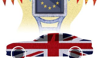 Illustration on Brexit by Greg Groesch/The Washington Times