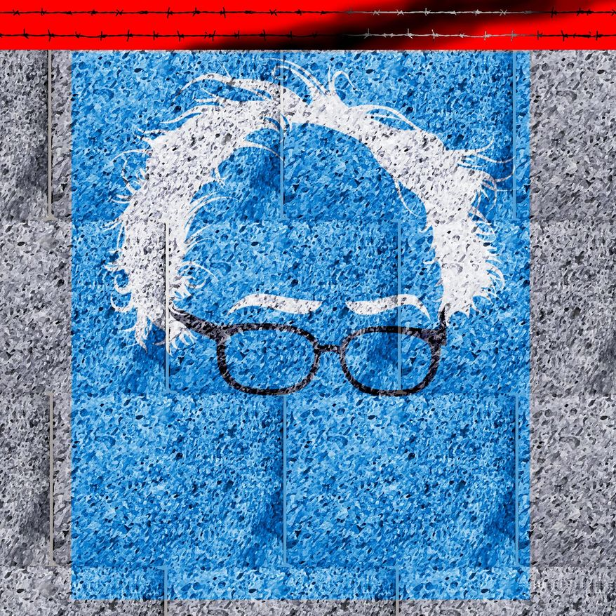 Illustration on Bernie Sanders and Socialism by Alexander Hunter/The Washington Times