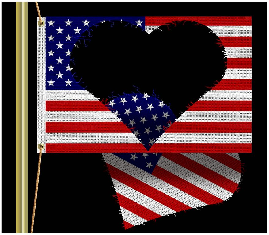 Illustration on declining love of country by Alexander Hunter/The Washington Times