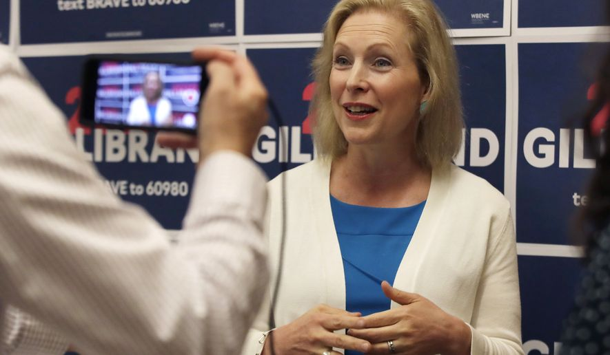 FILE - In this Aug. 20, 2019, file photo, Democratic presidential candidate Sen. Kirsten Gillibrand, D-N.Y., speaks to a reporter after a mental health roundtable discussion in Manchester, N.H. Gillibrand says she's dropping out of 2020 presidential race amid low polling, fundraising struggles. (AP Photo/Elise Amendola, File)