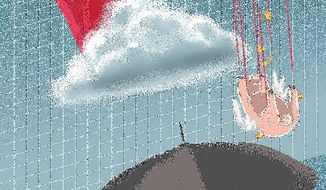 Illustration on future of the economy by Linas Garsys/The Washington Times