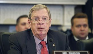 In this Sept. 26, 2018, photo, Sen. Johnny Isakson, R-Ga., speaks during a hearing of the Senate Committee on Veterans' Affairs, on Capitol Hill in Washington. (AP Photo/Alex Brandon) ** FILE **