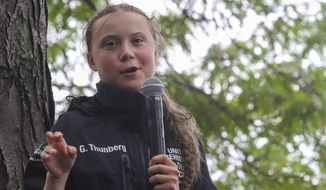 Greta Thunberg, a 16-year-old Swedish climate activist, speaks in front of a crowd of people after sailing in New York harbor aboard the Malizia II, Wednesday, Aug. 28, 2019. The zero-emissions yacht left Plymouth, England, on Aug. 14. She is scheduled to address the United Nations Climate Action Summit on Sept. 23. (AP Photo/Mary Altaffer)