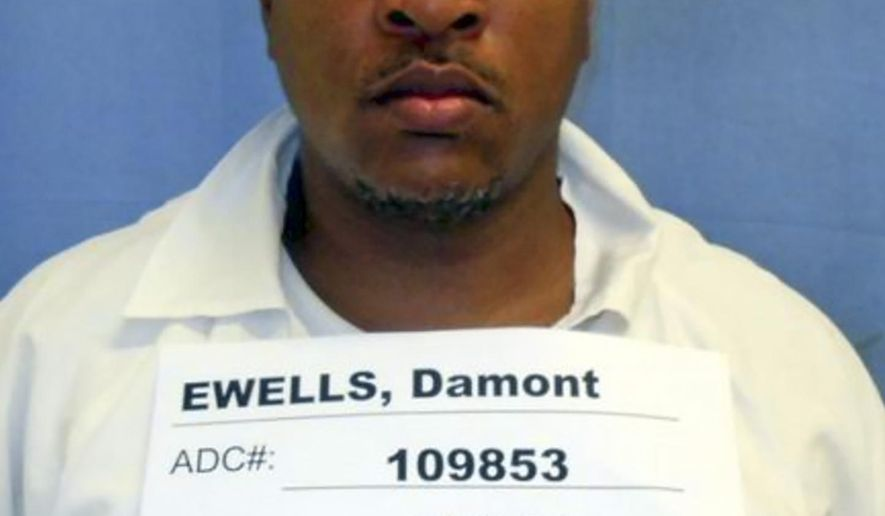 This photo provided by the Arkansas Department of Correction shows Damont Ewells. Ewells was sentenced to 20 more years in prison Tuesday, Aug. 27, 2019, after he was convicted of manslaughter for punching another inmate who later died. The death of James Walker occurred in 2017 when Arkansas' maximum-security prisons were beset by a series of violent outbreaks. (Arkansas Department of Correction via AP)