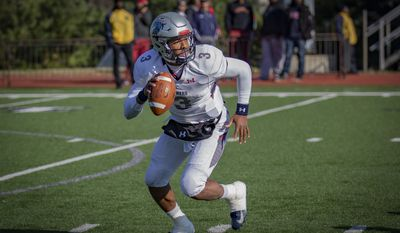 Caylin Newton looks to throw while playing quarterback for Howard University, the HBCU in Washington, D.C. Newton is the younger brother of Carolina Panthers quarterback and former Heisman Trophy winner Cam Newton. (Photo courtesy of Howard University Athletics)
