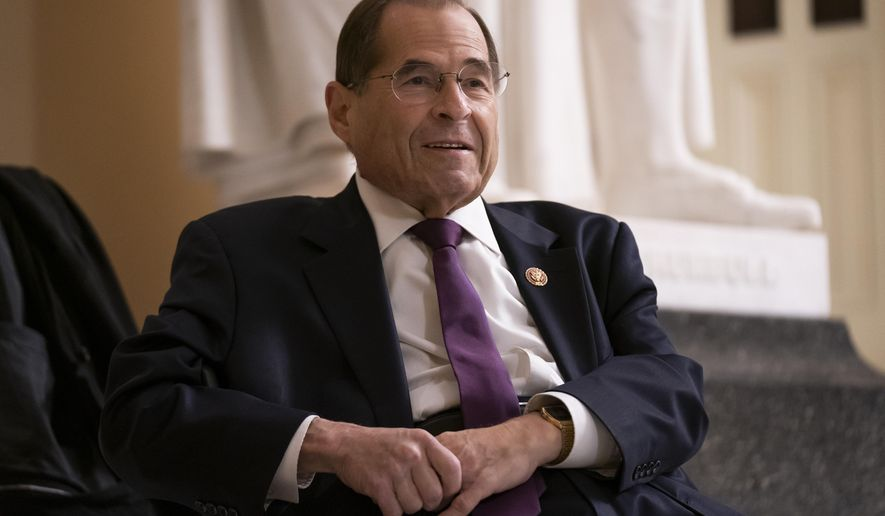 FILE - In this July 26, 2019, file photo, House Judiciary Committee Chairman Jerrold Nadler, D-N.Y., prepares for a television news interview at the Capitol in Washington. While more than 130 House Democrats _ more than half of the caucus _ have come out in favor of an impeachment inquiry into President Donald Trump, according to a tally by The Associated Press, those numbers don't reflect the whole story. The number of Democrats who would actually vote to recommend articles of impeachment, at this point, is significantly smaller. (AP Photo/J. Scott Applewhite, File)