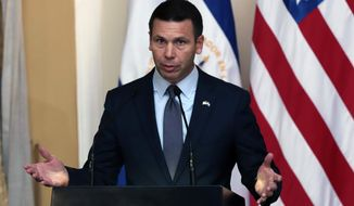 Acting U.S. Homeland Security Secretary Kevin McAleenan speaks during a press conference in San Salvador, El Salvador, Wednesday, Aug. 28, 2019. (AP Photo/Salvador Melendez) **FILE**