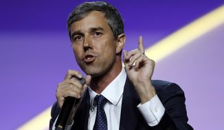In this July 24, 2019, file photo, Democratic presidential candidate former Texas Rep. Beto O'Rourke, speaks during a candidates forum at the 110th NAACP National Convention in Detroit. (AP Photo/Carlos Osorio) ** FILE **