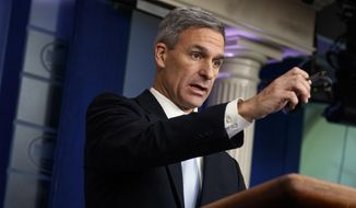 In this Aug. 12, 2019, file photo, acting Director of United States Citizenship and Immigration Services Ken Cuccinelli speaks during a briefing at the White House in Washington. (AP Photo/Evan Vucci, File)