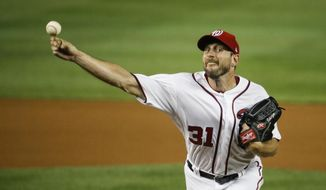 Washington Nationals starting pitcher Max Scherzer throws during the fifth inning of the team's baseball game against the Baltimore Orioles at Nationals Park on Wednesday, Aug. 28, 2019, in Washington. (AP Photo/Alex Brandon)