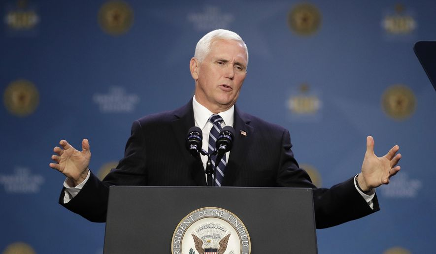 Vice President Mike Pence speaks at the 101st American Legion National Convention, Wednesday, Aug. 28, 2019, in Indianapolis. (AP Photo/Darron Cummings)