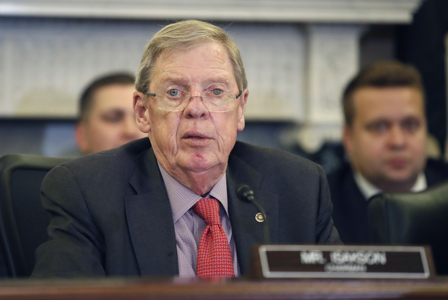 FILE - In this Sept. 26, 2018 file photo, Sen. Johnny Isakson, R-Ga., speaks during a hearing of the Senate Committee on Veterans' Affairs, on Capitol Hill in Washington. (AP Photo/Alex Brandon)