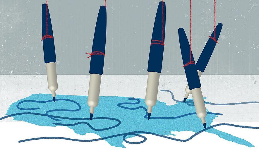 Illustration on gerrymandering by Linas Garsys/The Washington Times