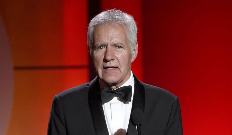 "In this April 30, 2017, file photo, ""Jeopardy!"" host Alex Trebek speaks at the 44th annual Daytime Emmy Awards in Pasadena, Calif. (Photo by Chris Pizzello/Invision/AP, File)"