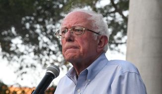 Presidential hopeful and Vermont Sen. Bernie Sanders addresses a town hall gathering on climate change on Thursday, Aug. 29, 2019, in Myrtle Beach, S.C. (AP Photo/Meg Kinnard)