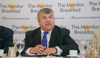 AFL-CIO President Richard Trumka speaks during a breakfast with Washington reporters hosted by the Christian Science Monitor in D.C. on Aug. 29. (Matt Orlando/The Christian Science Monitor) ** FILE **