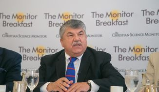 AFL-CIO President Richard Trumka speaks during a breakfast with Washington reporters hosted by the Christian Science Monitor in D.C. on Aug. 29. (Matt Orlando/The Christian Science Monitor)