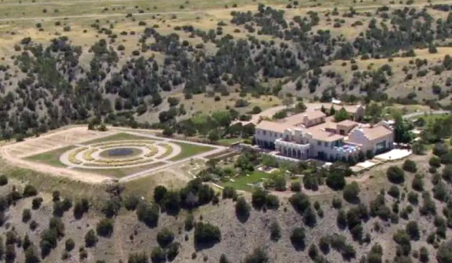 FILE - This Monday, July 8, 2019 photo shows Jeffrey Epstein's Zorro Ranch in Stanley, N.M. New Mexico's attorney general urged officials Thursday, Aug. 29, 2109, to retake state trust land that had been leased to Jeffrey Epstein's ranch, saying the financier's bid for the scrubby, desert acreage meant for cattle grazing should not have been granted. (KRQE via AP, File)
