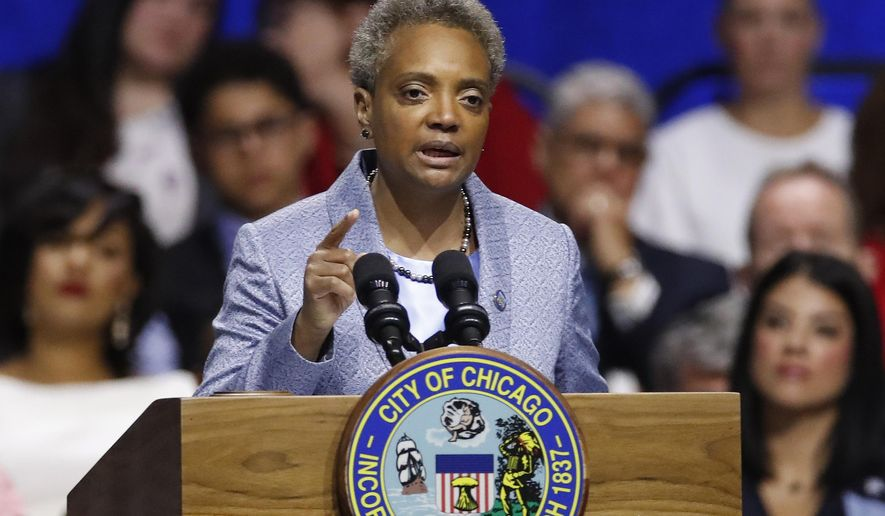 Mayor of Chicago Lori Lightfoot speaks during her inauguration ceremony in Chicago, May 20, 2019. (AP Photo/Jim Young) ** FILE **