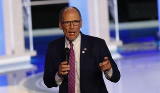 In this June 27, 2019, file photo, DNC Chairman Tom Perez speaks before the start of a Democratic primary debate hosted by NBC News at the Adrienne Arsht Center for the Performing Arts, in Miami. (AP Photo/Wilfredo Lee, File)