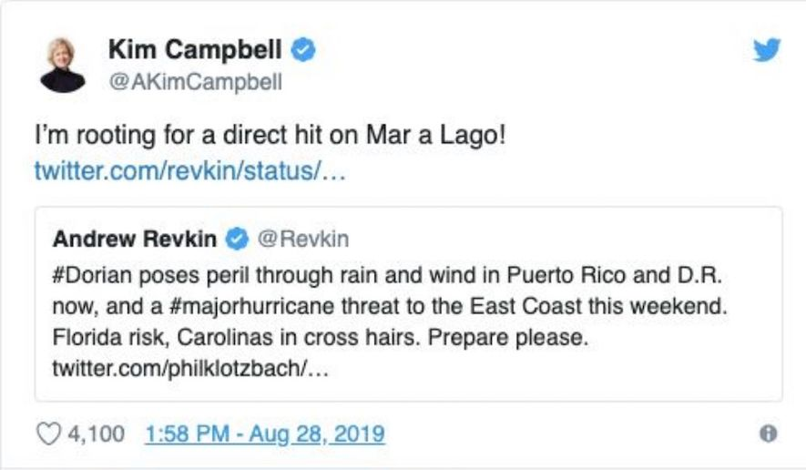 """Former Canadian Prime Minister Kim Campbell says she is """"rooting for a direct hit"""" by Hurricane Dorian on President Trump's Mar-a-Lago property in a now-deleted tweet. (Image: Twitter, Kim Campbell)"""