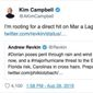 "Former Canadian Prime Minister Kim Campbell says she is ""rooting for a direct hit"" by Hurricane Dorian on President Trump's Mar-a-Lago property in a now-deleted tweet. (Image: Twitter, Kim Campbell)"