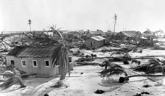 FILE - In this Sept. 15, 1935, file photo, fallen trees scatter Long Key, Fla., after a hurricane. The 1935 Labor Day Hurricane, which hit the Florida Keys, was the strongest hurricane to make landfall in the United States, based on barometric pressure. (AP Photo/File)